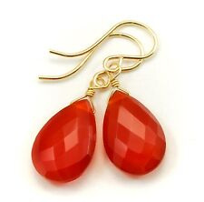 Carnelian Earrings 14k Gold Filled Facet Briolettes Pear Teardrop Burnt Orange