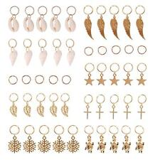 50 Pieces Hair Braid Rings Hair Charms Gold Shell Leaves Star Conch Snowflakes