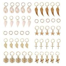 50Pcs Gold Shell Snowflake Pendant Rings Hair Clip Accessories for Braid DQ