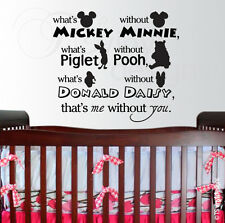 Disney Quote Kids Childrens Room Mickey Minnie Pooh Piglet Vinyl Wall Art Decal