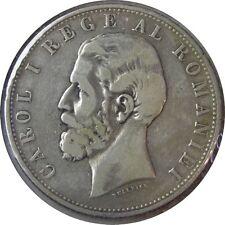 elf Romania Kingdom  5 Lei 1881 Silver  Carol I    Reeded Edge