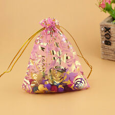 12/ 25/ 50/100 Rose Organza Bags Jewllery Gift Pouch Wedding Favour 7x9cm Colour