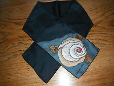 #Hand Painted Pure Silk Scarf Signed Dominique Ogien Orchid Motif Black & Blue.