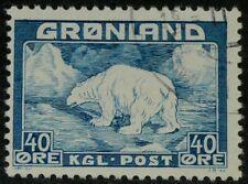 Greenland 1938 Sc#8 - 40o Polar Bear Blue Used VF
