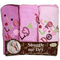 I Love Mommy and Daddy Hooded Bath Towel Set, 3 Pack, Girl, Frenchie Mini