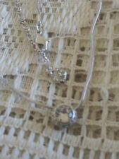 Swarovski Swan Signed Round Solitaire Halo Crystal Pendant Snake Chain Necklace