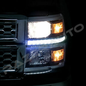 Headlight LED Strip Running Light Clear Len Kit for 14-15 Chevy Silverado 1500