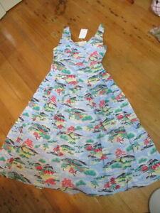 lazybones cotton dress NWT $199 fit & flare vintage style print  japanese print