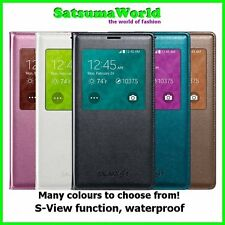 Waterproof Leather Flip Sview Case for Samsung Galaxy S5 S 5 Black Genuine IC