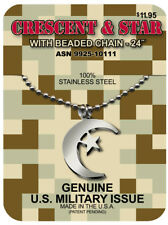 GI Jewelry US Military, CRESCENT & STAR Muslim NECKLACE Non-reactive Steel