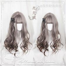 Harajuku Sweet Lolita Dolly Girl Gray Mixed Brown Daily Long Curly Princess Wig
