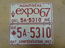 CANADA 1967 QUEBEC MONTREAL EXPO67 CONFEDERATION LICENSE PLATE SET