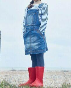 FatFace Girls Blue Denim Pinafore Dress Size UK 4-5 Years summer cotton