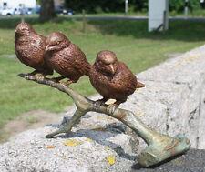 Bronzeskulptur 3 Spatzen auf Ast Bronze Statue Figur Dekoration