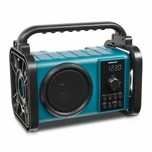 MEDION Baustellenradio P66200 Bluetooth Akku IP44 UKW Radio 50W LED Licht blau