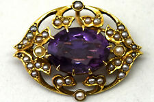 Antique 14K Solid Yellow Gold, Natural Amethyst and Pearl Pendant/Brooch