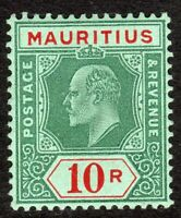 Mauritius 1910 green/red on green 10r multi-crown CA mint SG195