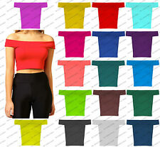 New Womens Off The Shoulder Bradot Ladies Vest Tee Crop Top Girls Sexy T Shirt