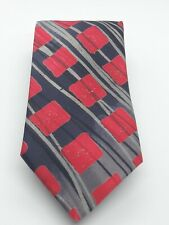 Neil Bottle Hand Painted & Printed Silk Tie Red Black Grey Abstract Square Print