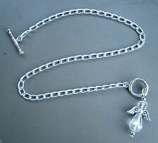 "custom anklet w/ Crystal Angel pendant Silver aluminum chain Nickel Free 10"" or"