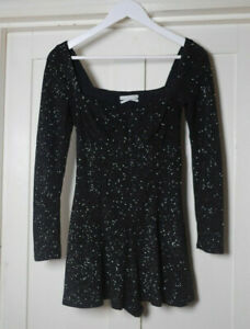 Urban Outfitters Womens Black Sparkly Playsuit size small