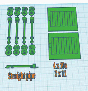 Hornby Dublo (ABHD 10 & 12) Goods Shed Spares (4 Drainpipes & 2 Doors)