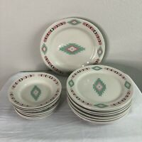 Meiwa Art Aztec Southwestern Dinnerware Set Plates Bowls Saucers 16pc China