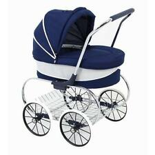 Valco Girls Navy Princess Royal Dolls Pram With Shopping Tray ~ Lay-By Welcome