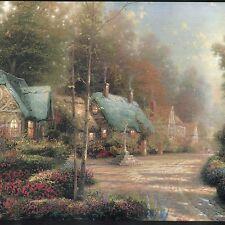 Thomas Kinkade Village Cottage Scene - ONLY $10 - Wallpaper Border C027