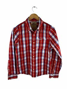 Hollister Mens Long Sleeve Shirt Size S Red Check Button Up Logo Pocket Collared