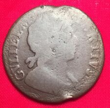 1699 William III Halfpenny, Scarce Date in Legend, Colonial Coinage Authentic
