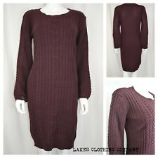 NEXT JUMPER DRESS MIDI MAROON CHUNKY CABLE KNIT LONG SLEEVE COTTON DRESS  6-20