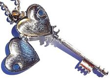 SKELETON KEY HEART LOCKET NECKLACE large pendant gold steampunk Victorian new 4E