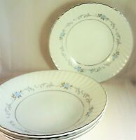 Justina Mikasa Coupe Soup Bowls (Set of 4) Pattern #230 Blue Roses Scrolls
