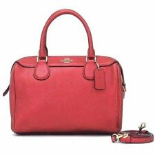 NWT Coach F39706 MetallicCrossgrain Leather Mini Bennett Satchel Handbag Magenta