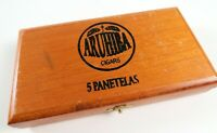Vintage Wooden Aruhiba 5 Panatelas Small Cigar Box