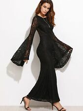 New Lovely & Sexy Black Long Wide Bell Sleeves Lined Lace Maxi Dress. M