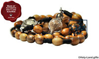 olive wood rosary NECKLACE catholic wooden JERUSALEM SOIL drop HOLY LAND WATER