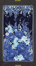 2.6 Yard Quilt Cotton Fabric- Timeless Treasures Imperial Garden Floral Met Blue