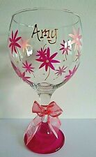 Personalised Gin Glass Pink Daisy Hand Painted FREE Gift Box