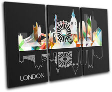 London Geometric  City CANVAS WALL ART Picture Print VA