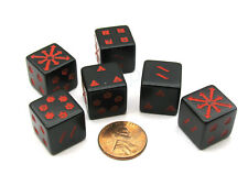 Pack of 6 Opaque D6 Chessex Arrows of Chaos Dice - Black with Red