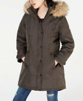 $159 NEW Madden Girl Womens Olive Faux Fur Hooded Puffer PARKA Coat Jacket M