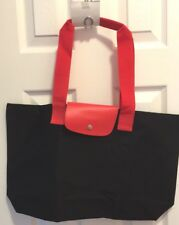 Lancome Fabric Tote Bag Black with Red Straps Snap Closure BRAND NEW