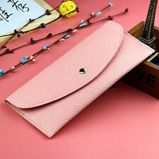 new simple women thin purse long clutch wallet leather PU handbag card holder