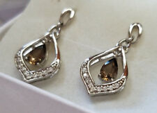 Genuine Brown Topaz Gemstone 925 Sterling Silver CZ Dangle Stud Earrings NEW