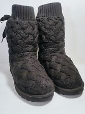 UGG Australia 'Isla' Lace Up Bow Back Sweater Knit Boots Black Size 9 *EUC*