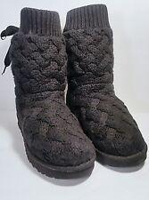 UGG Australia 'Isla' Lace Up Bow Back Sweater Knit Boots Black Size 9 *EUC*