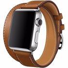 Montre Double Tour Bracelet en Cuir Veritable Bande pour Apple Watch Band 38mm