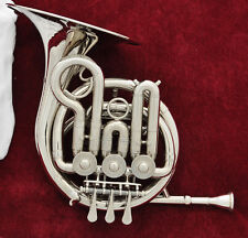 Top new silver Nickel plated Mini french horn Bb piccolo french with case